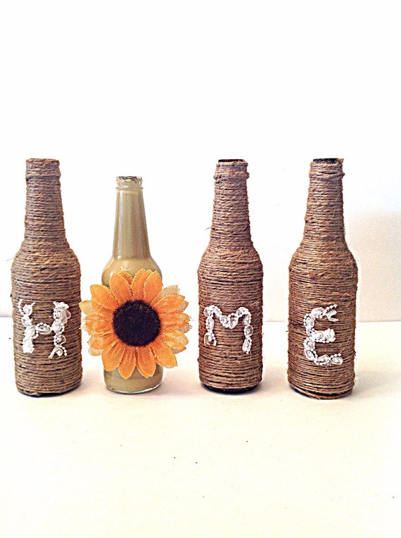 Schnur gewickelt Flaschen Hochzeit Dekoration von Fourgirlsfun
