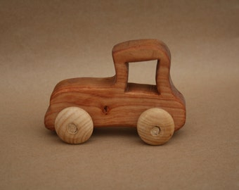 Retro Car Wooden Toy Free Personalization Handmade Alder Tree Natural Sealed with flax oil