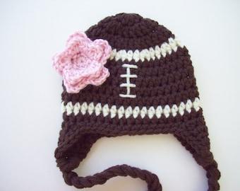 Girl Football Hat, Ready to Ship, Toddler Girl Hat, Baby Girl Hat, Football Hat, Crochet Baby Hat, Baby Hat, Newborn Photo Prop, Baby Girl