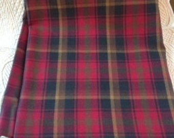 Beautiful Red Plaid Wool Vintage Fabric 2.5 yard ~ Perfectly Vintage!