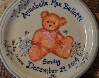 Personalized teddy bear baby birth plate with stand
