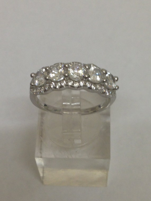 White Topaz Cluster 925 Sterling Silver Ring