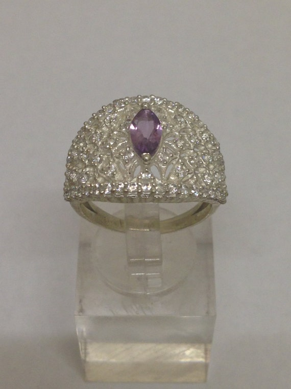 Amethyst & White Topaz 925 Sterling Silver Ring
