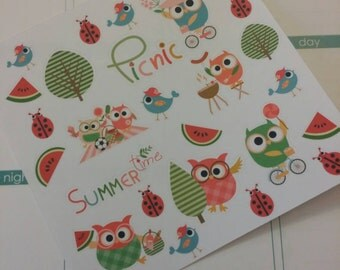 Summer Owl Stickers! Perfect for your Erin Condren Life Planner, calendar, Paper Plum, Filofax!