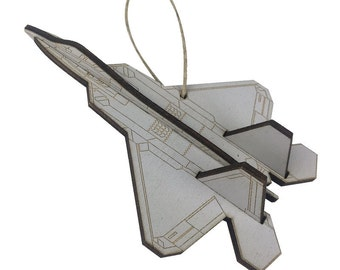 Wooden F-22 Airplane Fighter Jet Christmas Ornament