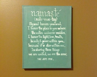 """Handwritten Calligraphy Namasté Sign with Inspirational Quote  """"My soul honors your soul..."""""""