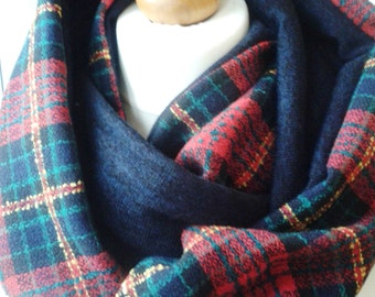 Winter scarf. Plaid infinity scarf. Scottish style scarf. Cowl plaid scarf. Limited edition.  Hand made to order in the UK.
