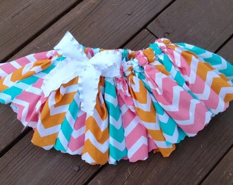 "Fabric Tutu ~ ""Beach Boardwalk"", Scrap Fabric Skirt, Photo Prop, Chevron Skirt, Birthday Tutu"