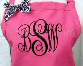 "Embroidered monogram  Family Name initials Apron 24""L x 28""W professional 3 pocket full bib. Customize and Personalize for a Christmas gift!"