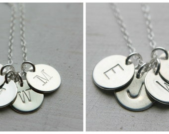 Initial Necklace, 2 3 4 5 Silver Disc Necklace, Sterling Silver Necklace, Custom Necklace, Modern Mom Necklace, Personalized Necklace