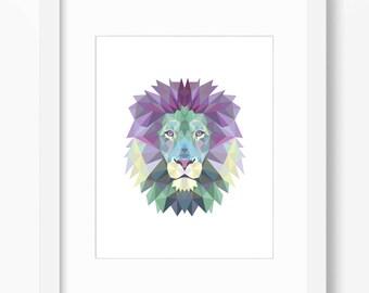 Lion Print, Lion Art, Lion Wall Art, Geometric Lion Print, Lion Print, Origami Lion Print, Lion Face, Geometric Lion Art, Triangle Lion Art