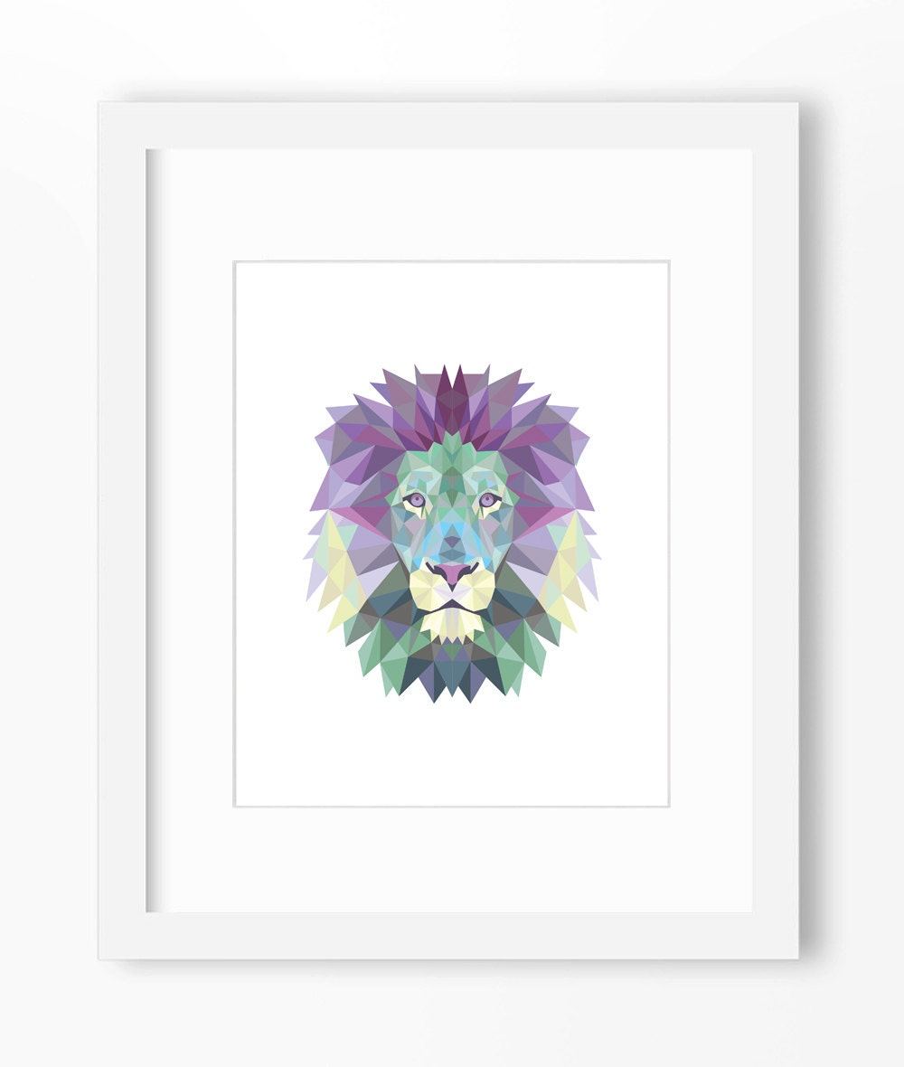 Lion print lion art lion wall art geometric lion print for Wall artwork paintings