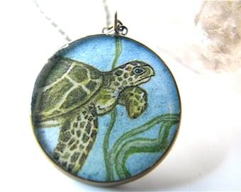 Honu in the Ocean Necklace