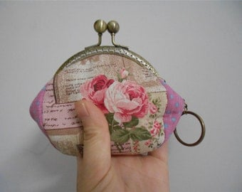 Pink Rose Coin Purse Handmade Clutch Wallet