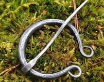 Penannular brooch, cloak pin, viking pin, celtic brooch. Hand forged.