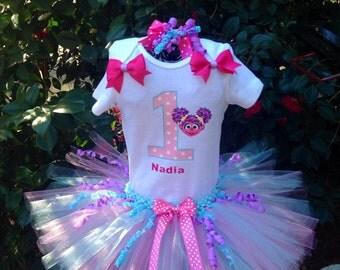 Abby sesame street first birthday tutu set