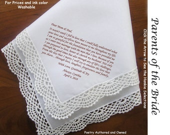 Mother and Father of the Bride Gift Handkerchief  0111 Sign & Date 5 MOB Wedding Hankerchief Styles and 8 Ink Colors.