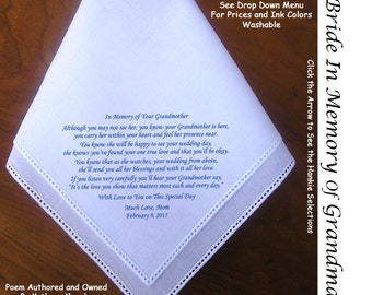 Gift For the Bride Hankie In Memory of Her Grandmother ~ 0618 Sign & Date Free!  5 Brides Hankie styles and 8 Ink Colors. Brides Hankie