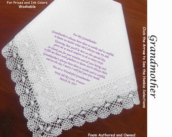 Grandmother of the Bride or Groom Gift Hankie & Poem 1501  Sign and Date    Free!                5 Wedding Hankie Styles and 8 Ink Colors.