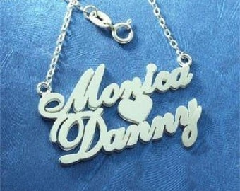 Sterling 925 Silver Double Name Necklace with Heart