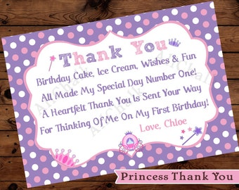 Princess Thank You 1st Birthday Personalized Purple Pink Crown Wand Carriage First