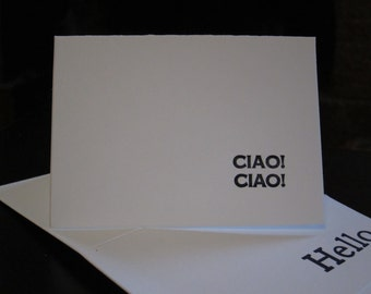 Ciao! Notecard, Letterpress Greeting Card or Thank You Note, 4 pack