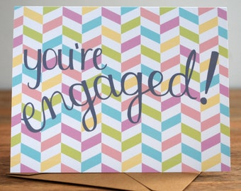 You're Engaged! - Modern Herringbone Engagement Card