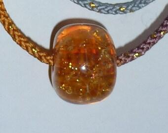 Golden Sunshine - Japanese Satake Glass Bead on Japanese Cord Necklace