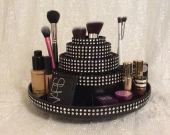 Rotating Makeup Brush Organizer with Storage for Accessories - in Black and Silver