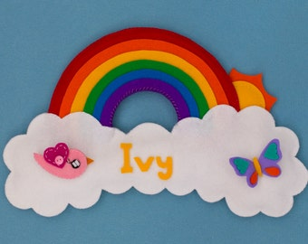 Sunshine and rainbow personalized children's name plaque /  door sign /wall hanging with pink bird.