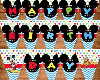 Mickey mouse birthday banner | Etsy UK