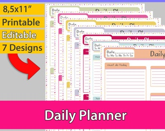Daily Planner Printable, Day Organizer, To do list, Daily planner, day organizer, 8.5x11 Letter size, Editable Planner