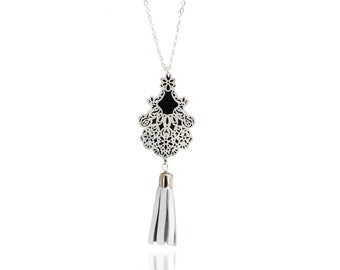 """leather long necklace """"empire""""-silver plated long necklace-silver leather pompon-SARAYANA-"""
