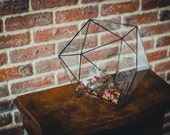 Large Terrarium Icosahedron, Stained glass vase, Glass decoration, Candle holder, Stained glass icosahedron