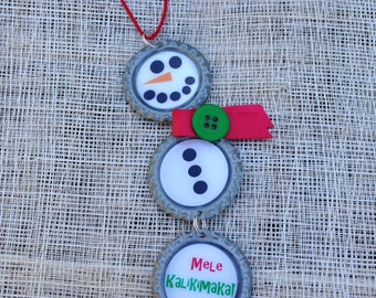 Recycled Bottlecap Snowman Ornament
