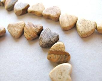 Heart shaped beads, Picture Jasper, 20 beads - #332