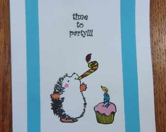 Time to Party Hedgehog Birthday card