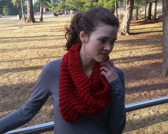 Chunky Knitted Deep Red Infinity Scarf