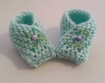 Light Green Knitted Baby Booties with Glass Bead Embellishment