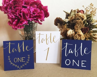 Hand Written Modern Calligraphy Table Numbers for Weddings and Parties - boho rustic gold