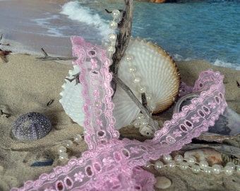 pink nylon lace, 3cm wide, embroidered edges. insert ribbon, floral design.(pk002)