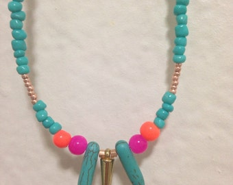 Turquoise spike beaded necklace