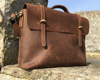 Northern lights leather Messenger | Medium brown