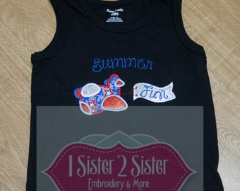 Summer Fun Airplane and Banner Shirt - Embroidered - Applique - Americana - Fourth of July - Tank Top - Onesis