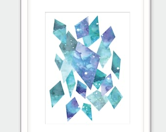 Blue crystals print. Watercolor gem art. Digital download.