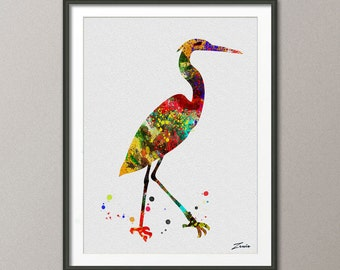 red crown crane poster bird poster watercolor bird art print watercolor painting print painting gift mix-media -A067