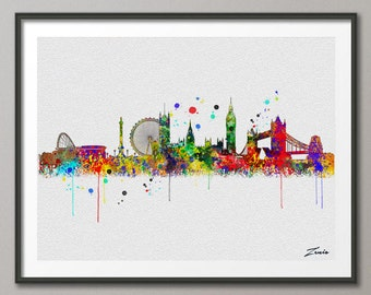 London skyline, London art, London print, London painting,London watercolor, watercolor London ,city watercolor, London city A097