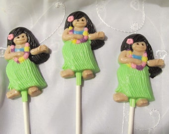 12 Hawaiian Hula girl chocolate lollipops