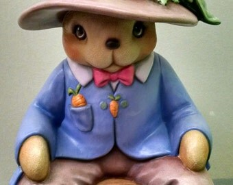 SALE--Mr. Vegetable Patch Bunny--Heirloom Quality--Hand-painted Ceramic--Holiday-Seasonal Decor--Home-Patio Decor