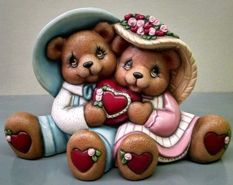 Cuddle Heart Bears--Heirloom Quality--Hand-painted Ceramic--Holiday Figurine Decor--Seasonal Figurine Decor--Home Decor--Patio Decor
